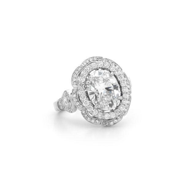 oval cut diamond double halo dress ring