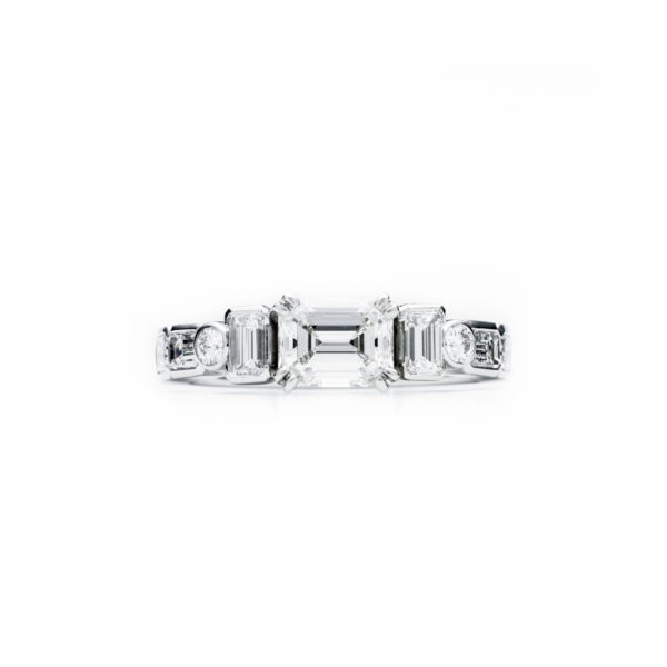 emerald cut multi-stone engagement ring