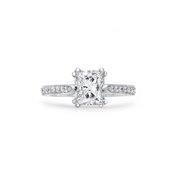 A Rectangular Princess Cut Diamond Engagement Ring