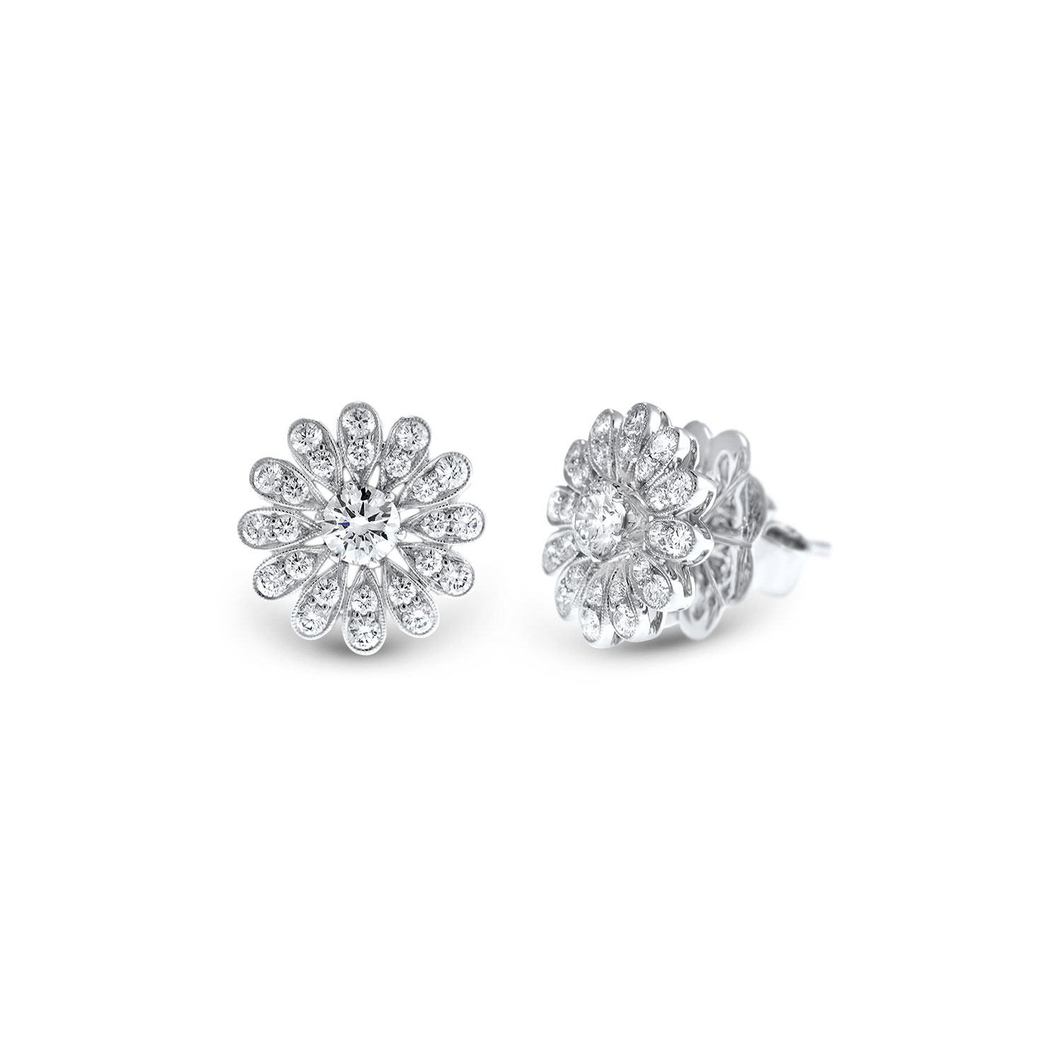 Vintage flower diamond stud earrings in white gold Fairfax & Roberts