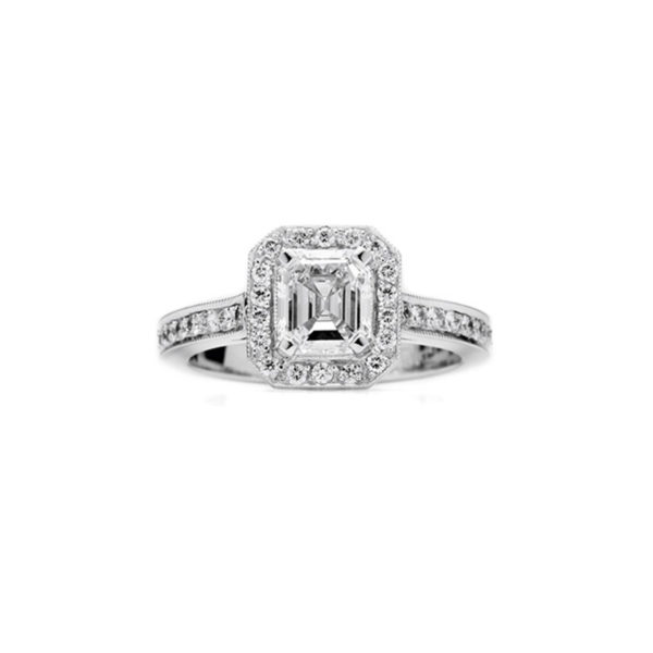 asscher cut diamond halo engagement ring,