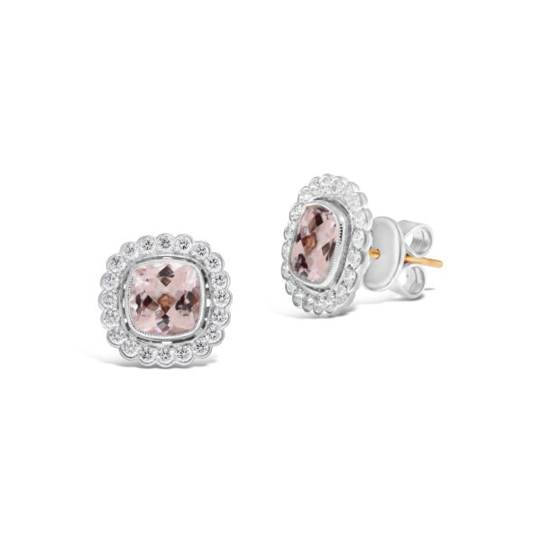 Shelley Collection Morganite and Diamond Stud Earrings