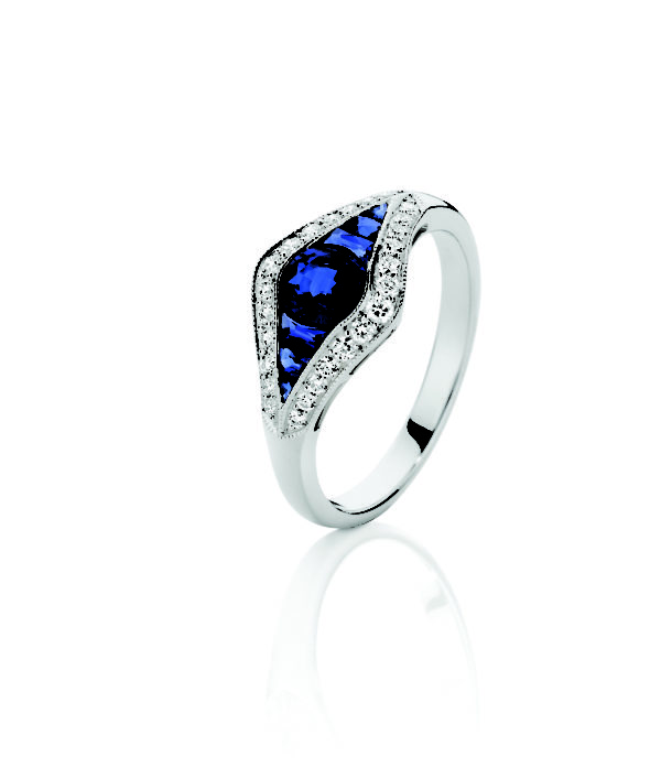 Art Deco Inspired Sapphire diamond ring