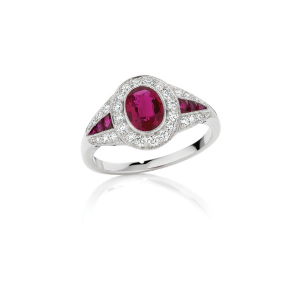 An Art Deco Inspired Ruby and diamond ring