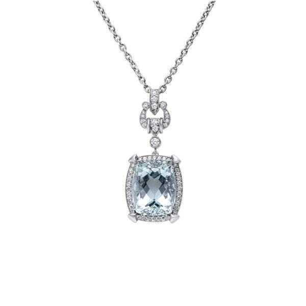 Art Deco Inspired Aquamarine and Diamond Pendant