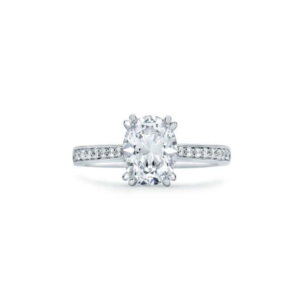 oval cut diamond engagement ring with diamond accents