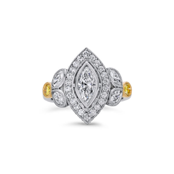Art Deco Inspired Diamond Halo Engagement Ring
