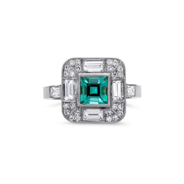 Indicolite and Diamond Art Deco Dress Ring