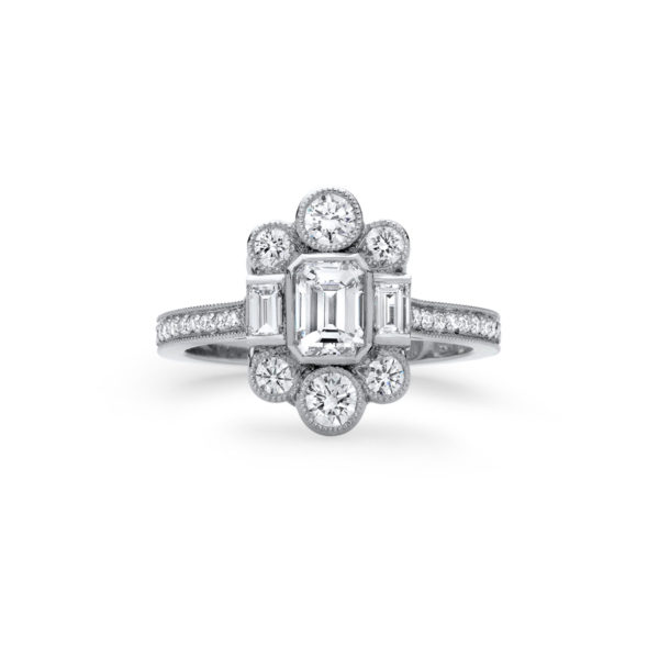 An Emerald Cut Art Deco Inspired Diamond Engagement Ring