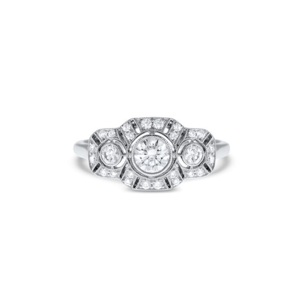Art Deco three stone diamond