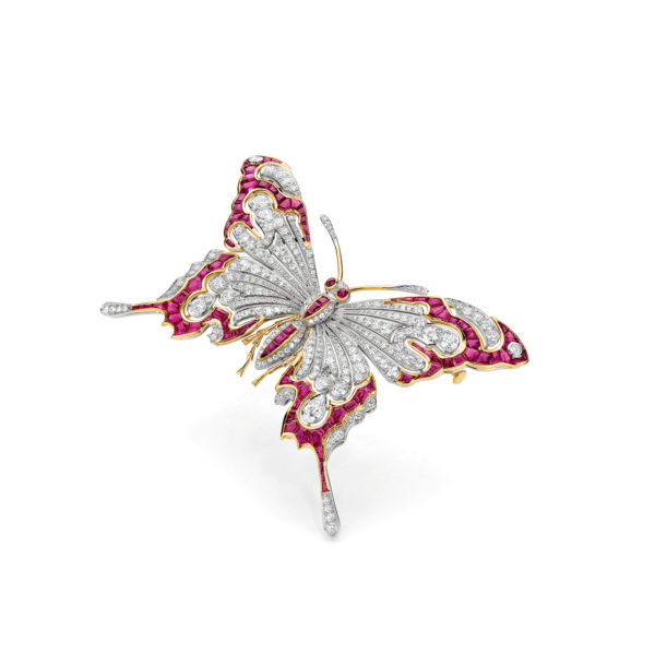 Burmese Ruby Butterfly Brooch