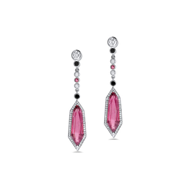 Rubelite and Diamond Drop Earrings