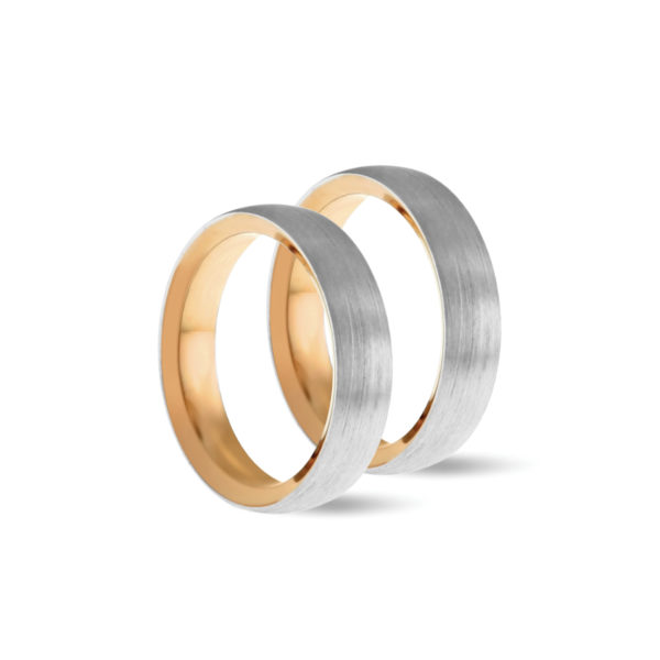 Wedding ring, engagement or commitment ring in white and rose gold
