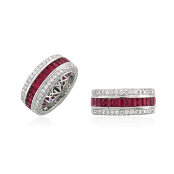 ruby engagement ring Mens and womens engagement ring and commitment ring love wins