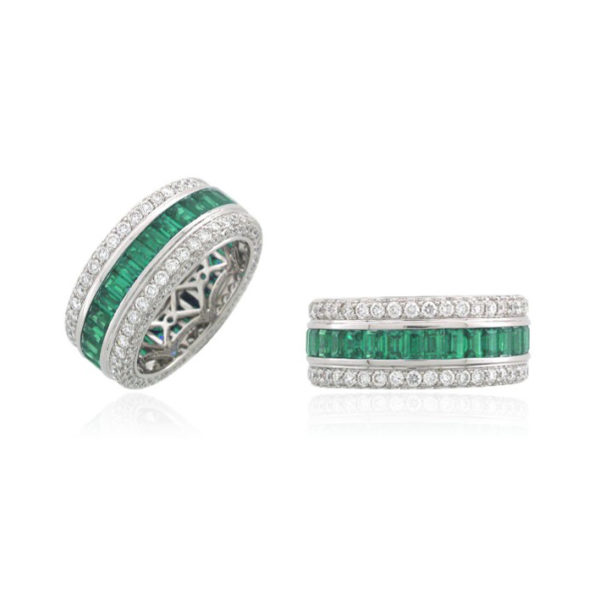 emerald-and-diamond-engagement-ring Mens and womens engagement ring and commitment ring love wins