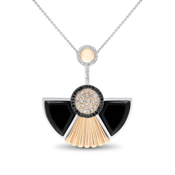 Art Deco style Cleopatra pendant in 18K white and rose gold