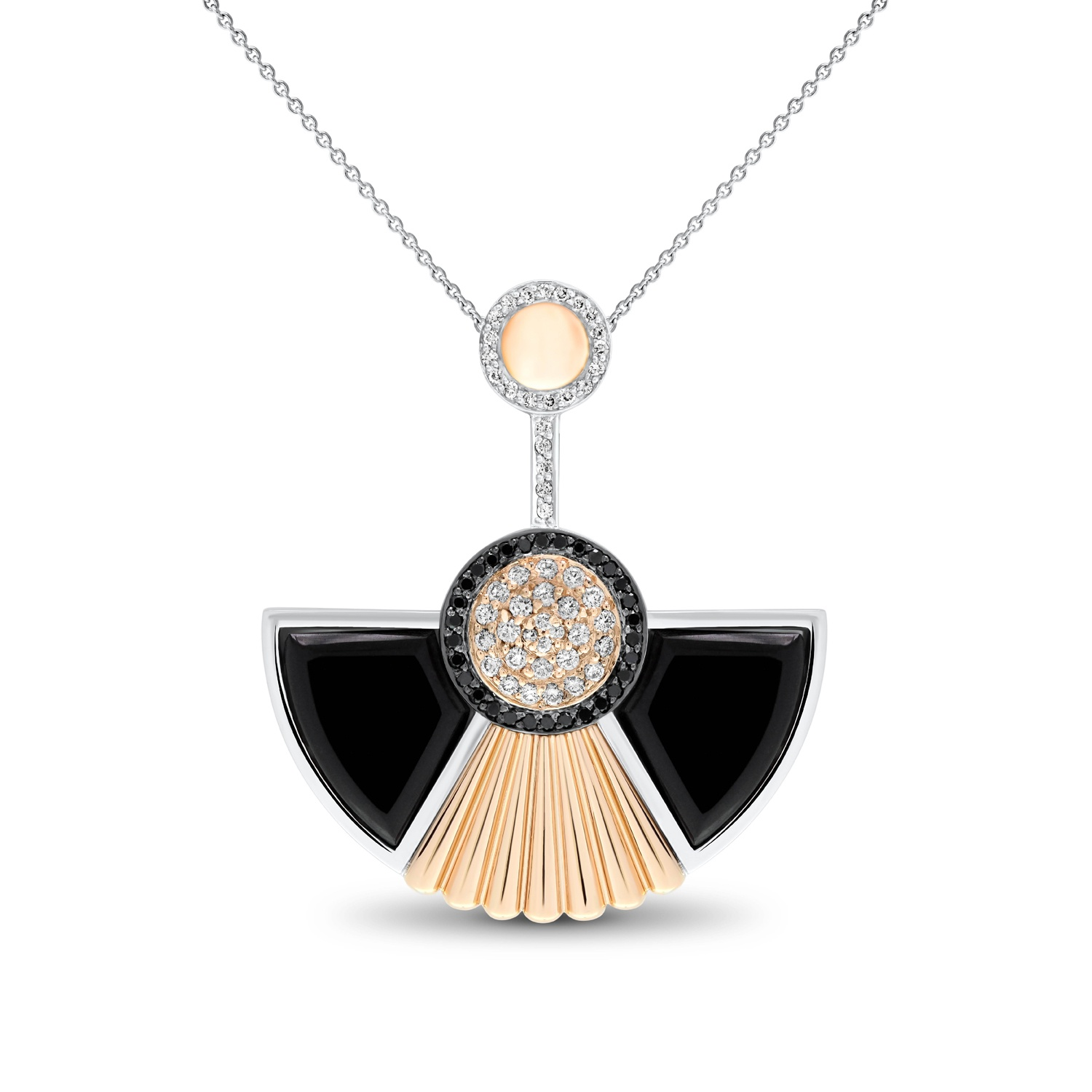 Art Deco Style Cleopatra Pendant In 18k White And Rose Gold By Fairfax Roberts