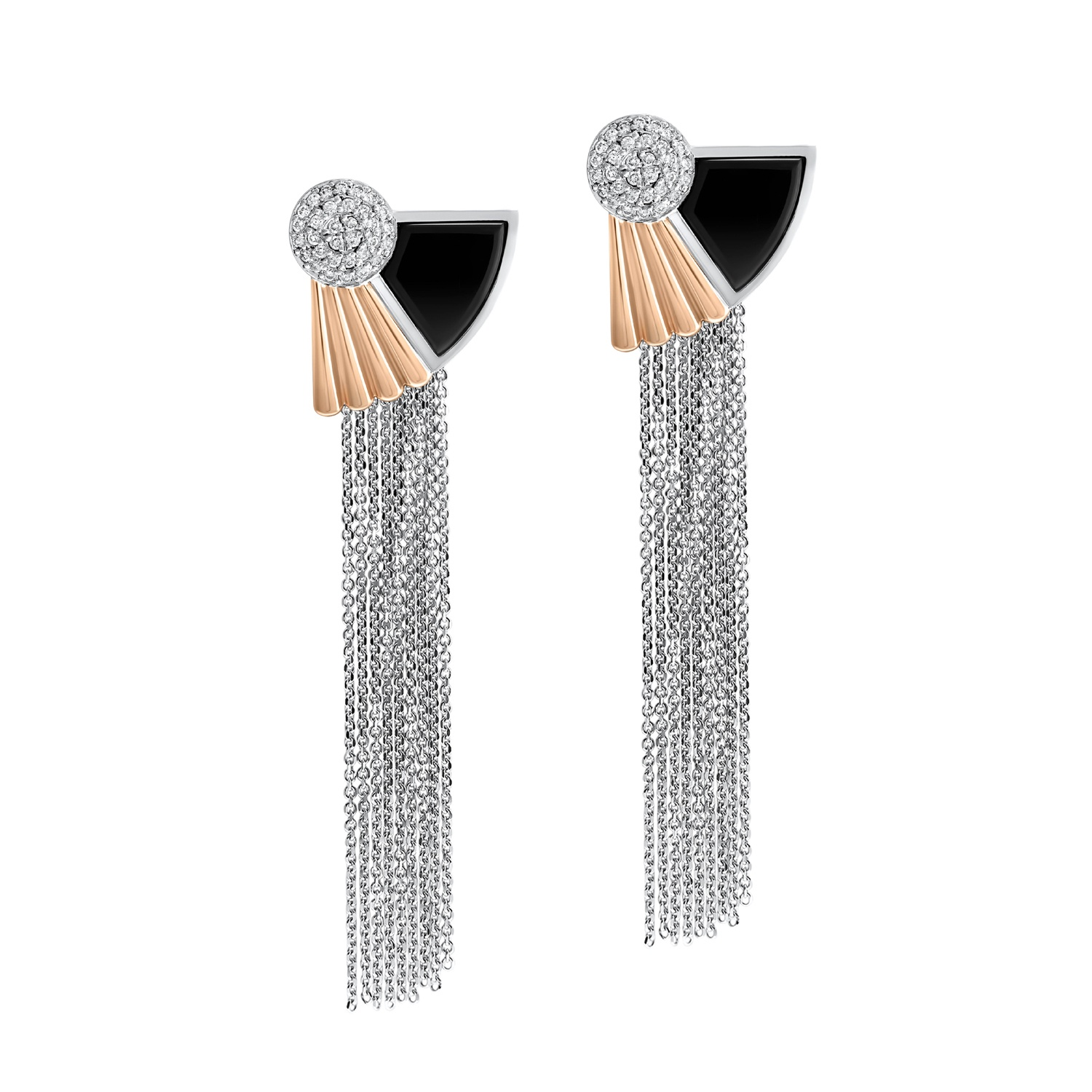 art deco style cleopatra tassel earrings in 18k white and rose gold. Black Bedroom Furniture Sets. Home Design Ideas