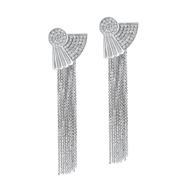 Art Deco Art Deco style Cleopatra earrings in 18K white gold 3 style Cleopatra earrings in 18K white gold 3