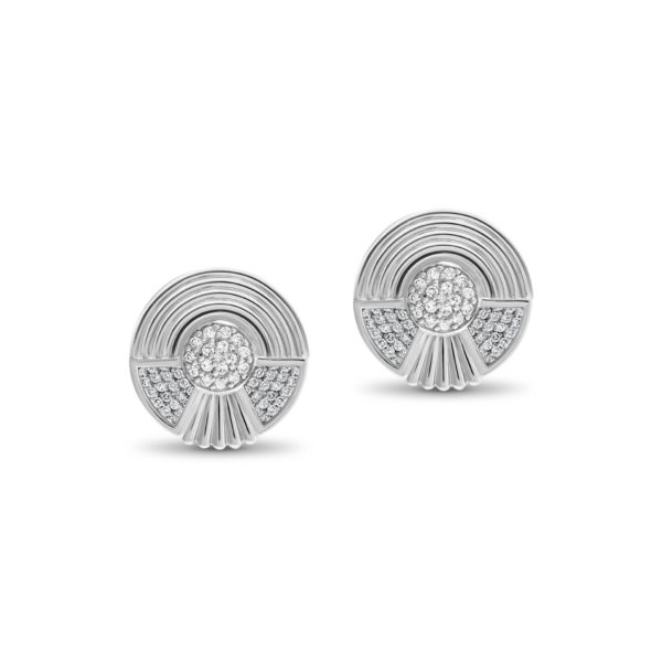 Art Deco style Cleopatra stud earrings in 18K white gold