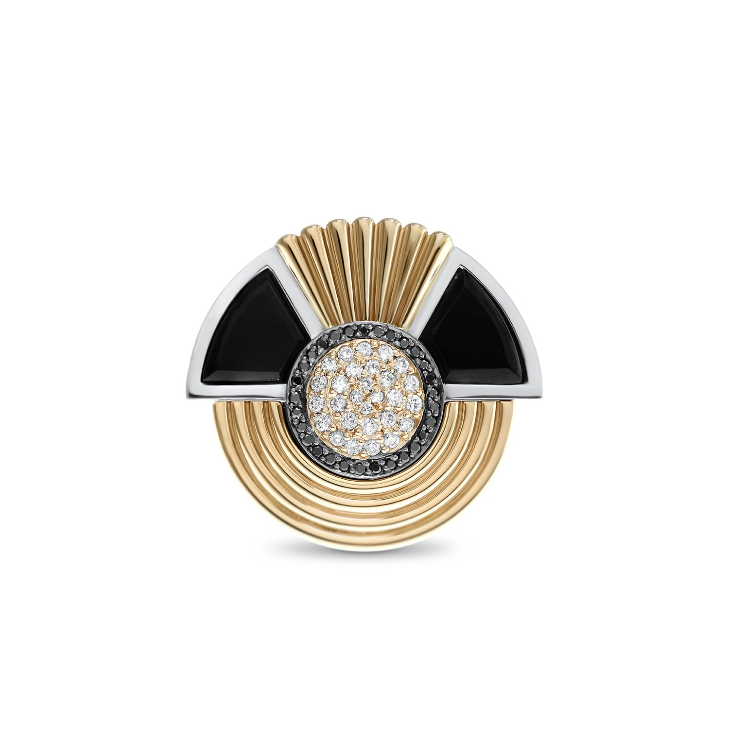 Art deco style cleopatra ring in 18k white and rose gold for Deco maison rose gold
