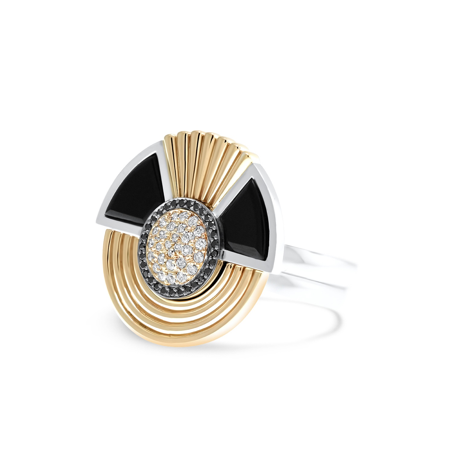 art deco style cleopatra ring in 18k white and rose gold. Black Bedroom Furniture Sets. Home Design Ideas