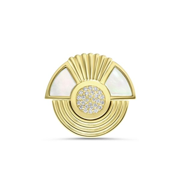Art Deco style Cleopatra ring in 18K yellow gold
