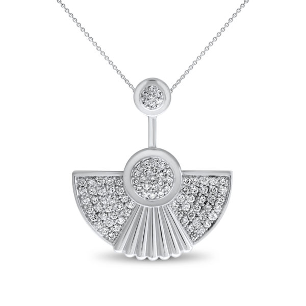 Art Deco style Cleopatra pendant in 18K white gold