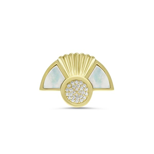 Art Deco style Cleopatra ring in 18K yellow gold half