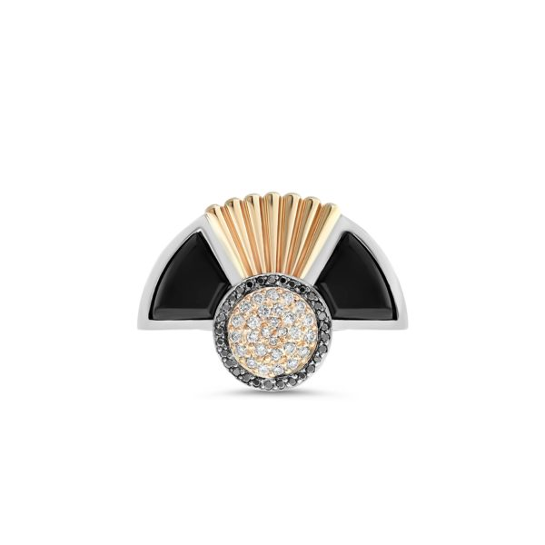 Art Deco style Cleopatra ring in 18K white and rose gold