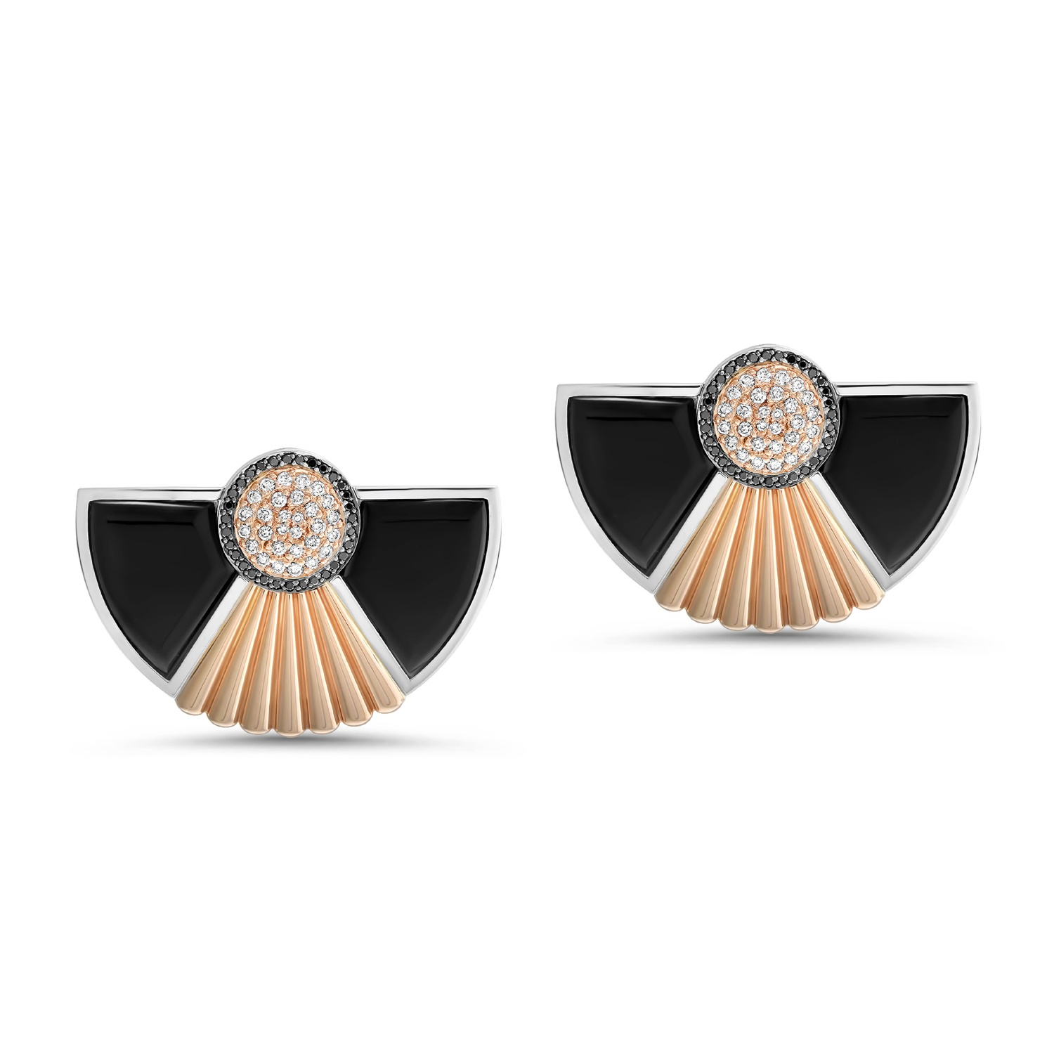 Art Deco Style Cleopatra Earrings In 18k White And Rose Gold By Fairfax Roberts