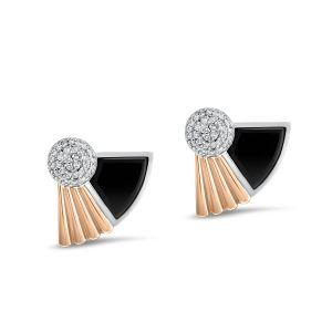 Art Deco style Cleopatra earrings in 18K white and rose gold