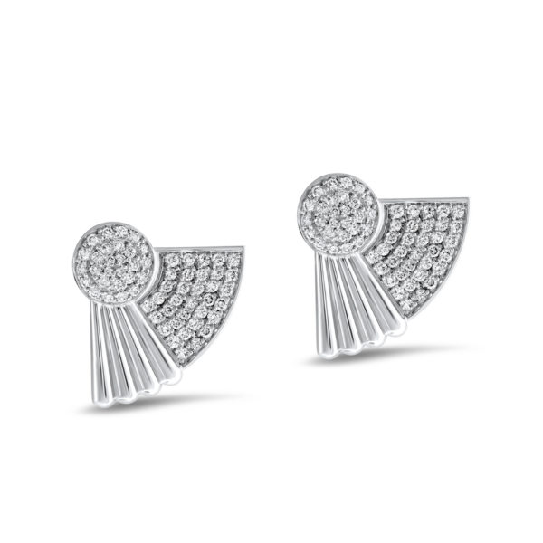 Art Deco style Cleopatra earrings in 18K white gold