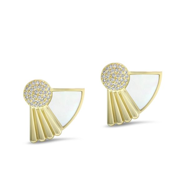 Art Deco style Cleopatra earrings in 18K yellow gold and pearl