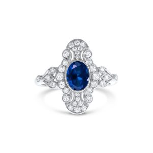 Art Deo sapphire and diamond ring