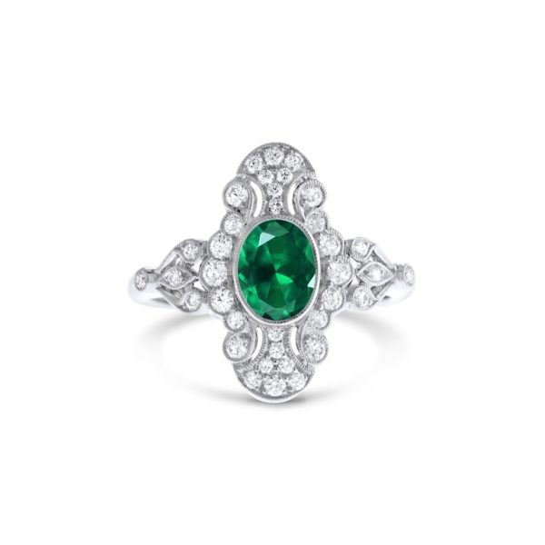 Art Deco inspired emerald and diamond dress ring