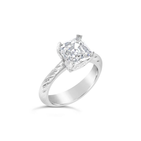 Art Deco Asscher cut solitaire engagement ring