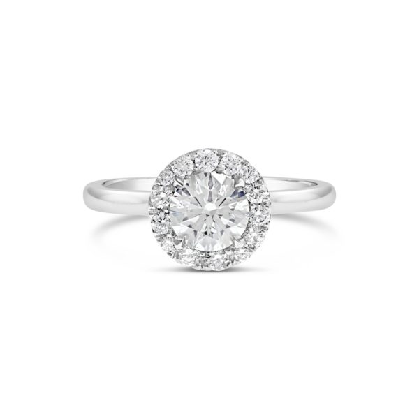 fine band Round brilliant cut halo engagement ring RBC 0.90ct ESI1 sm RBC 0.26ct 1