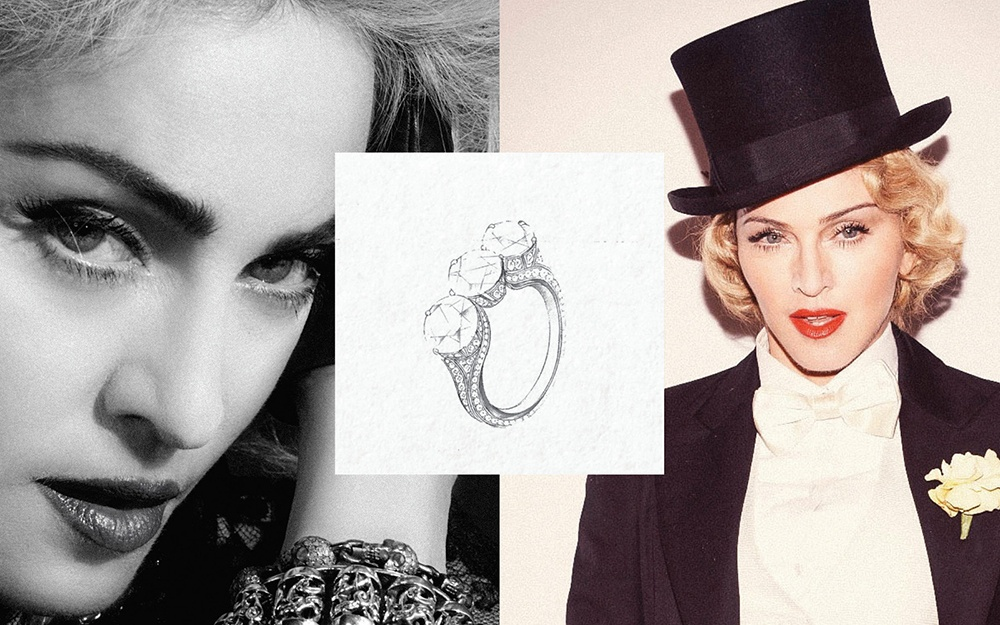 Madonna Three Stone Engagement Ring