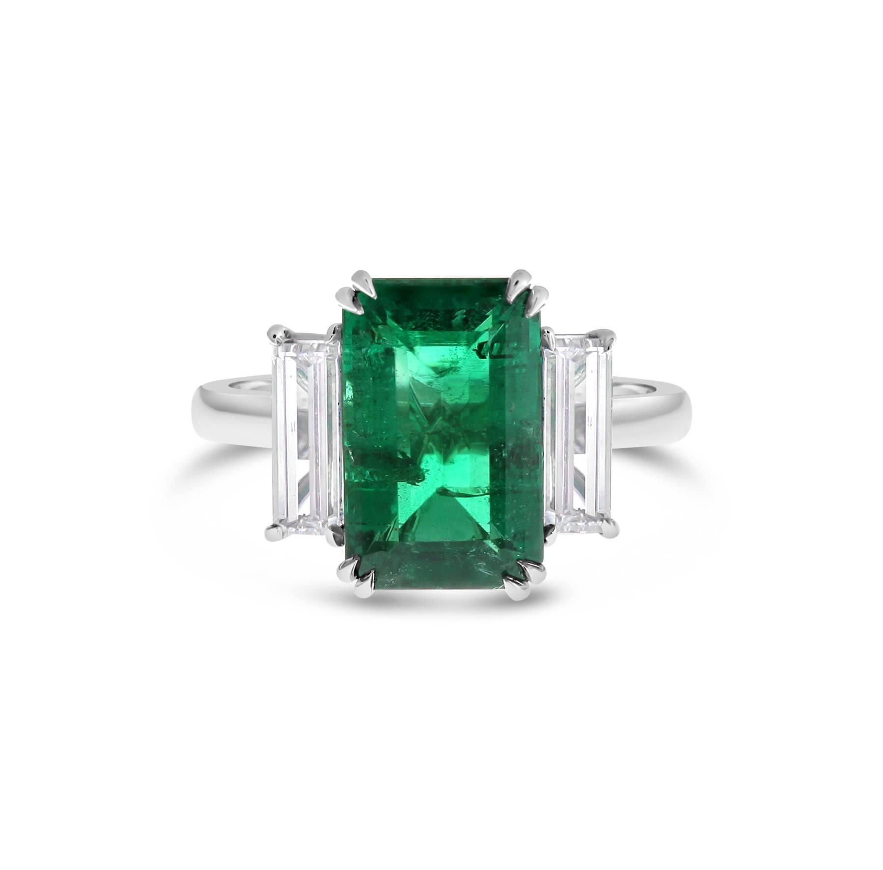 Emerald And Diamond Three Stone Ring Fairfax And Roberts