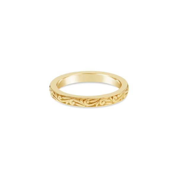 Hand Engraved Yellow Gold Scroll Ring - Fairfax and Roberts