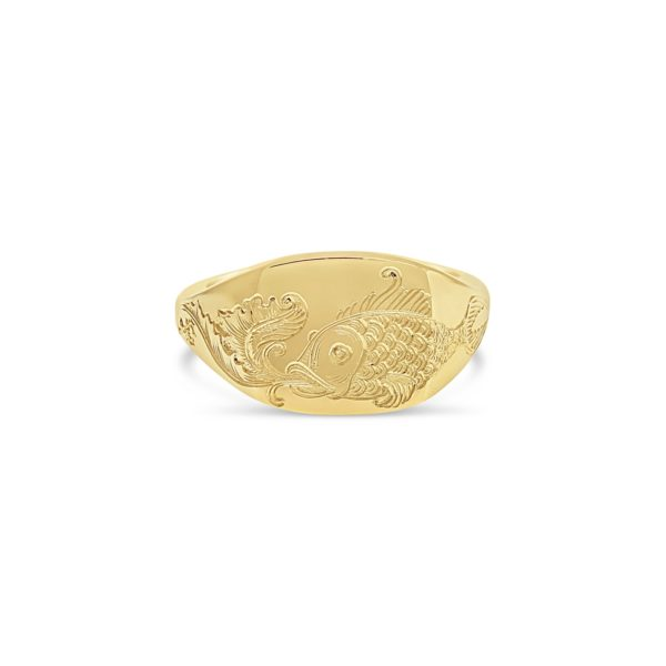 Golden Fish and Scroll Signet Ring