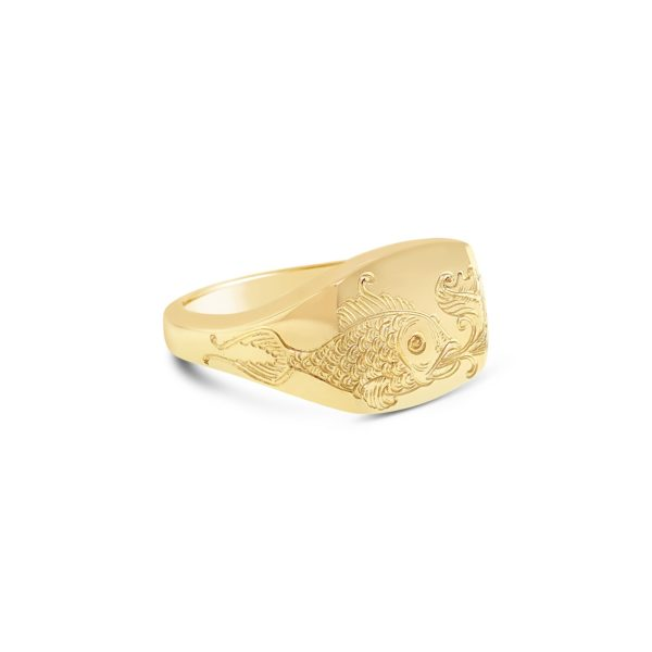 hand engraved yellow gold signet ring