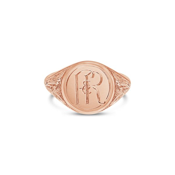hand engraved monogram signet ring