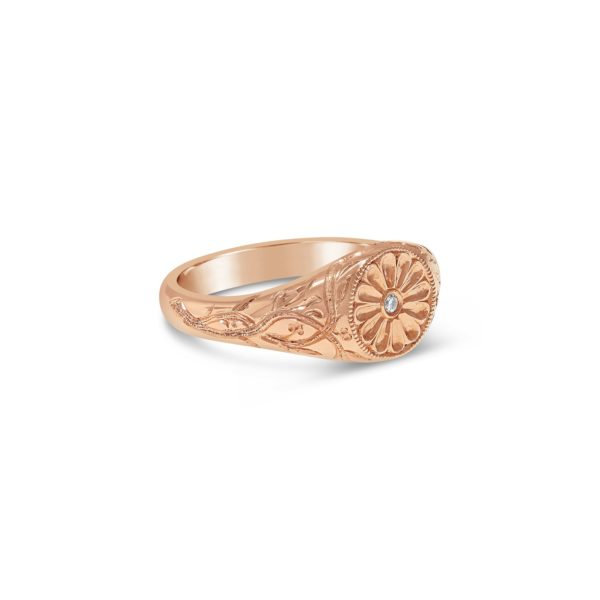 hand engraved rose gold signet ring with floral motif