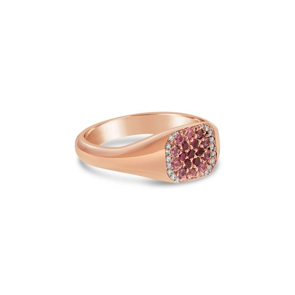 One 18K rose gold pavé set ruby sapphire and round brilliant cut diamond signet ring