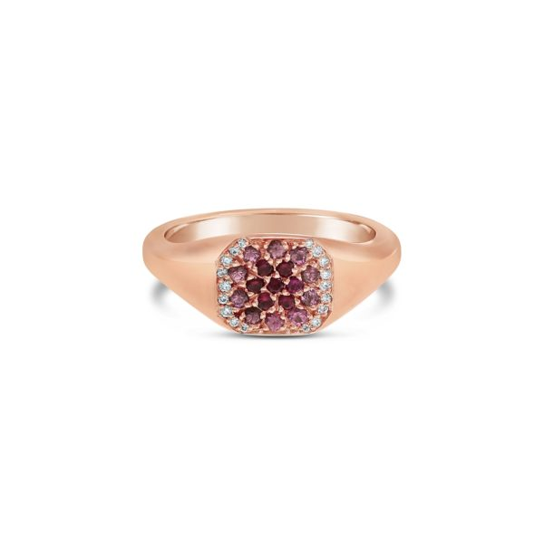 rose gold ruby and sapphire pavé set signet ring