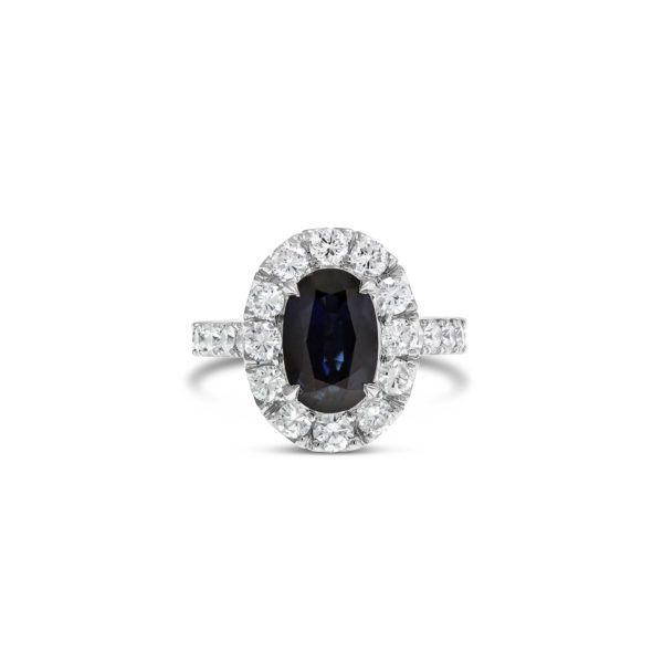 Oval Cut Sapphire Halo Engagement Ring
