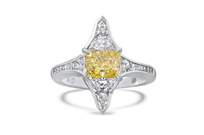 yellow diamond ring 3 art deco
