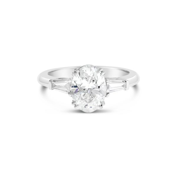 Oval Diamond Three Stone Engagement Ring